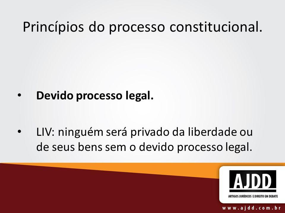 Princípios do processo constitucional. Devido processo legal. LIV: ninguém será privado da liberdade ou de seus bens sem o devido processo legal.