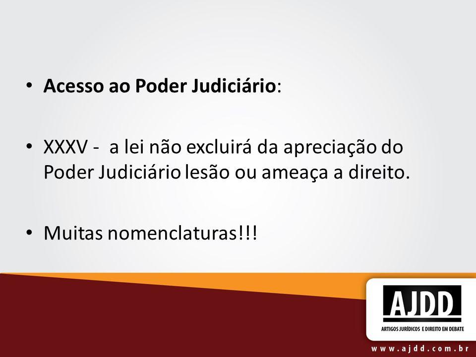 Acesso ao Poder Judiciário: XXXV - a lei não excluirá da apreciação do Poder Judiciário lesão ou ameaça a direito. Muitas nomenclaturas!!!
