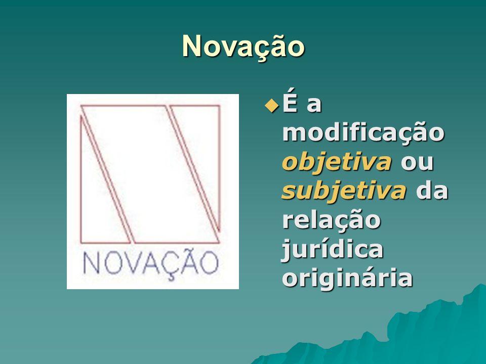 Novação É a modificação objetiva ou subjetiva da relação jurídica originária É a modificação objetiva ou subjetiva da relação jurídica originária