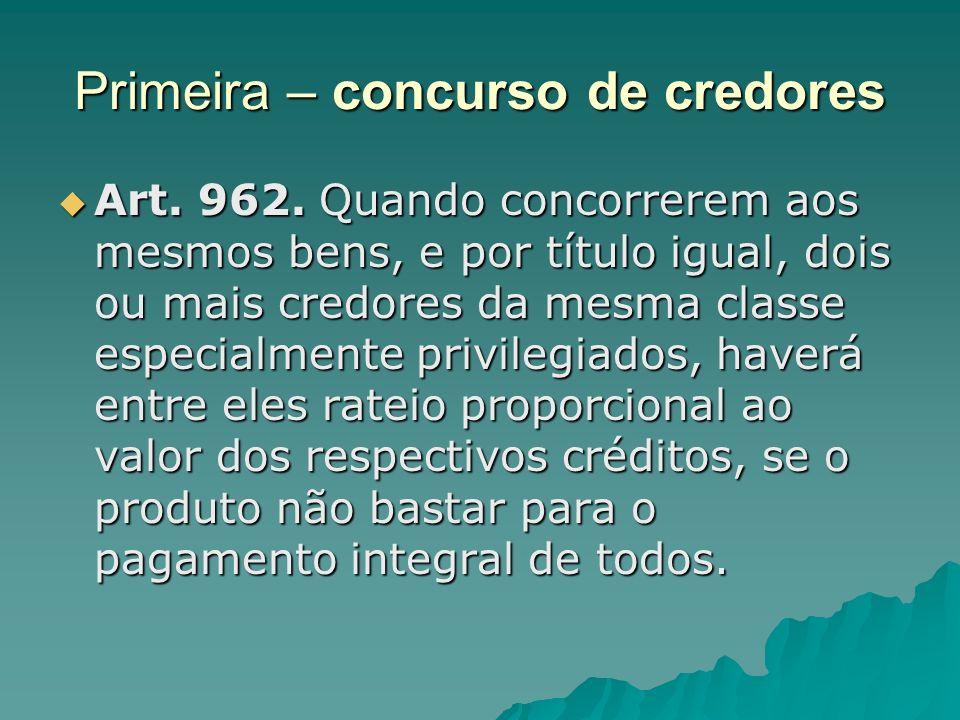 Primeira – concurso de credores Art. 962. Quando concorrerem aos mesmos bens, e por título igual, dois ou mais credores da mesma classe especialmente