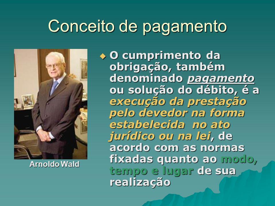 Conceito de pagamento Arnoldo Wald Arnoldo Wald O cumprimento da obrigação, também denominado pagamento ou solução do débito, é a execução da prestaçã