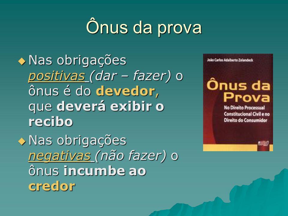 Ônus da prova Nas obrigações positivas (dar – fazer) o ônus é do devedor, que deverá exibir o recibo Nas obrigações positivas (dar – fazer) o ônus é d