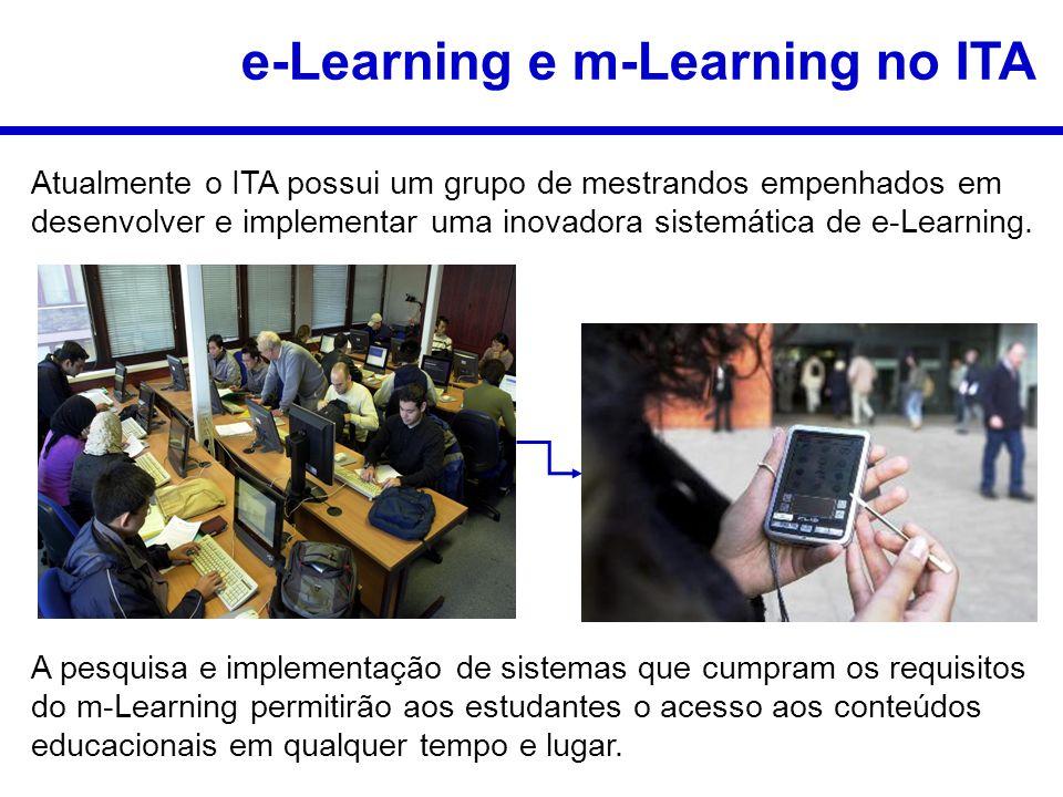 e-Learning e m-Learning no ITA Atualmente o ITA possui um grupo de mestrandos empenhados em desenvolver e implementar uma inovadora sistemática de e-Learning.