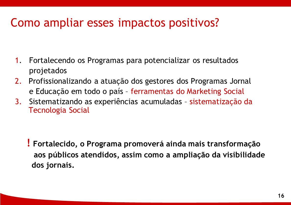 16 Como ampliar esses impactos positivos? 1. Fortalecendo os Programas para potencializar os resultados projetados 2.Profissionalizando a atuação dos