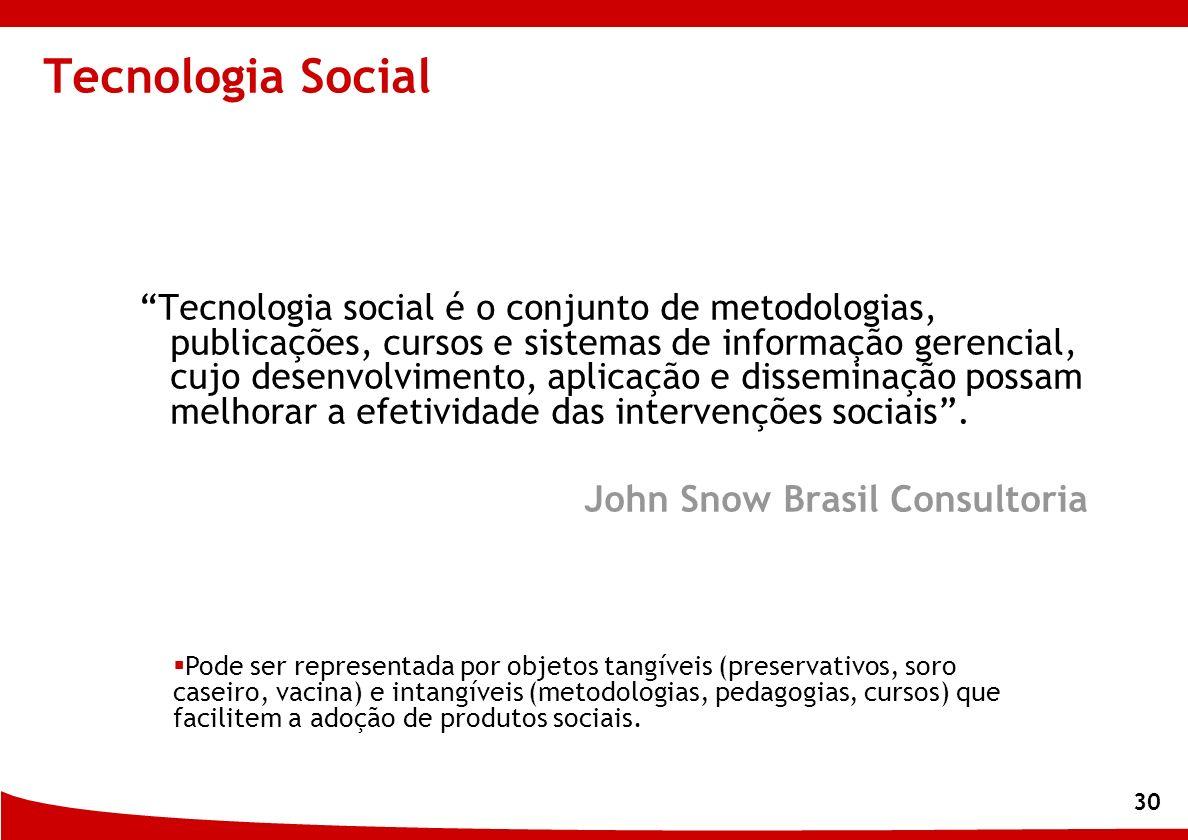 30 Tecnologia Social Tecnologia social é o conjunto de metodologias, publicações, cursos e sistemas de informação gerencial, cujo desenvolvimento, apl