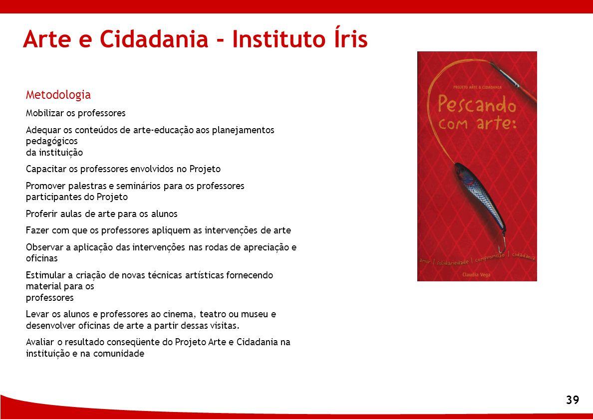 39 Arte e Cidadania - Instituto Íris Metodologia Mobilizar os professores Adequar os conteúdos de arte-educação aos planejamentos pedagógicos da insti