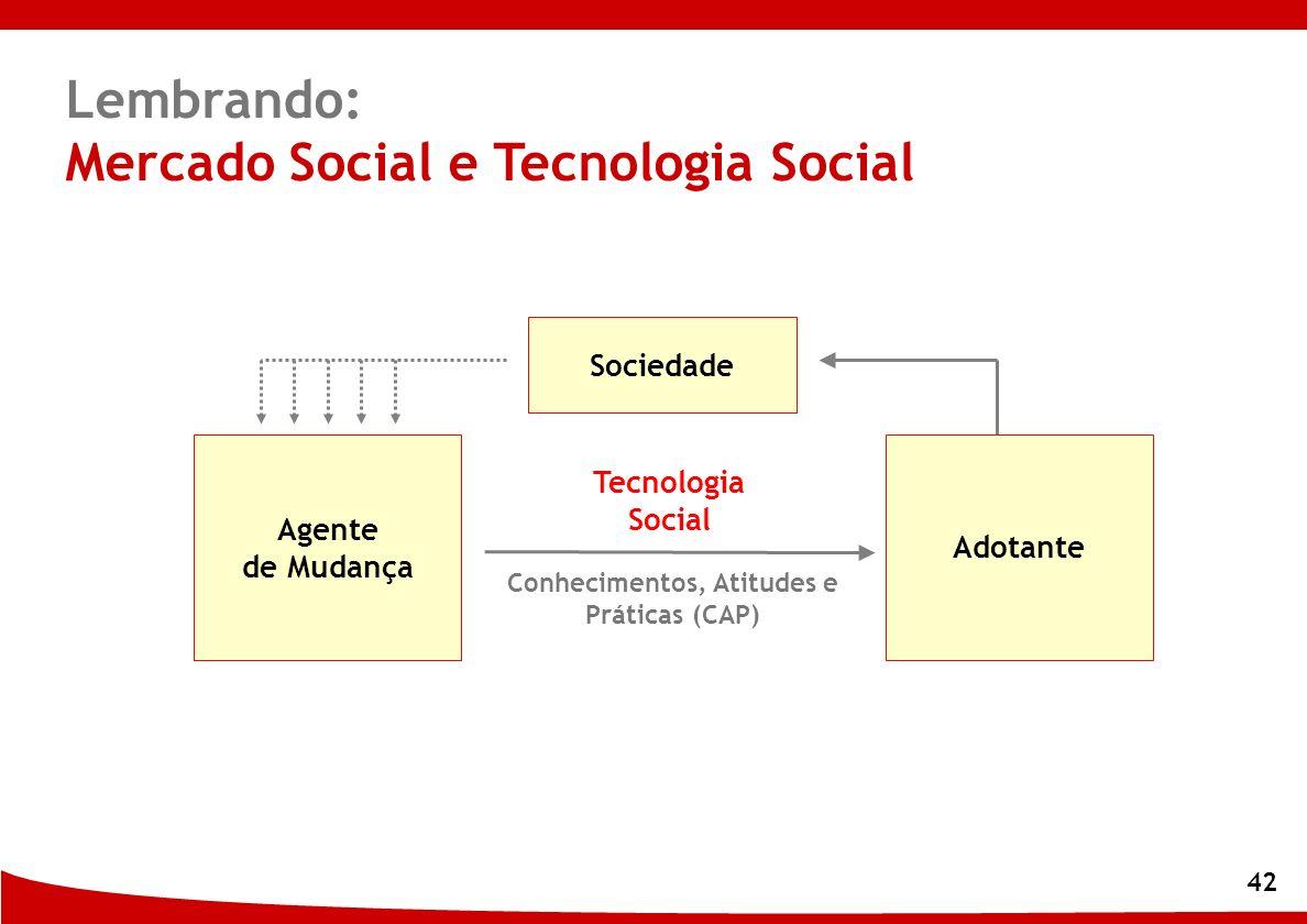 42 Adotante Conhecimentos, Atitudes e Práticas (CAP) Agente de Mudança Sociedade Lembrando: Mercado Social e Tecnologia Social Tecnologia Social