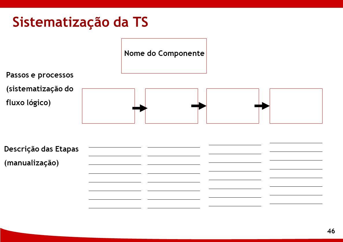 46 Sistematização da TS Nome do Componente Passos e processos (sistematização do fluxo lógico) Descrição das Etapas (manualização)
