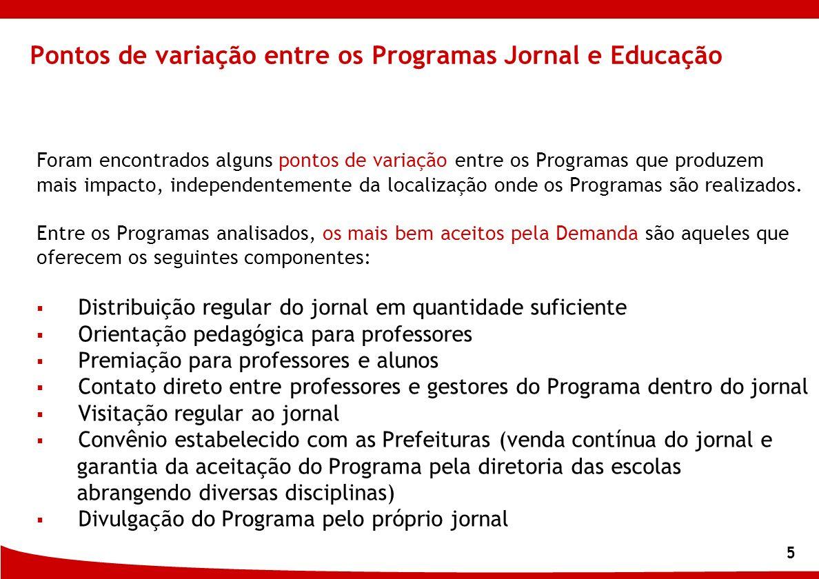 5 Pontos de variação entre os Programas Jornal e Educação Foram encontrados alguns pontos de variação entre os Programas que produzem mais impacto, in