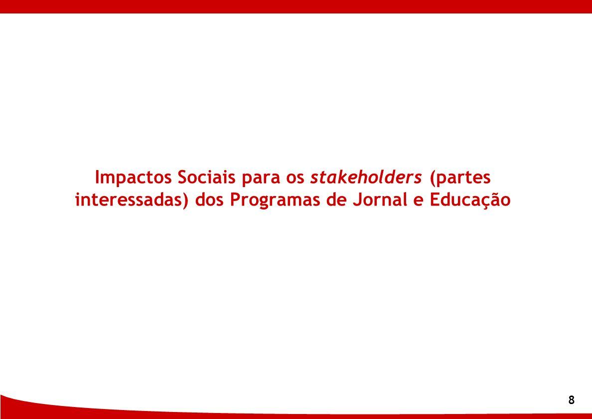 8 Impactos Sociais para os stakeholders (partes interessadas) dos Programas de Jornal e Educação