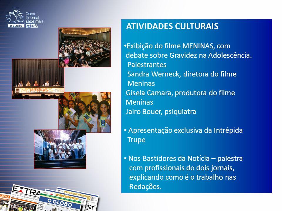 ATIVIDADES CULTURAIS Exibição do filme MENINAS, com debate sobre Gravidez na Adolescência.