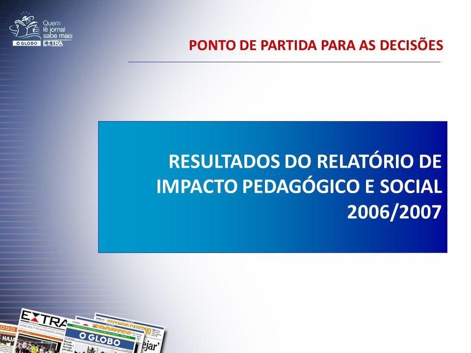 PONTO DE PARTIDA PARA AS DECISÕES RESULTADOS DO RELATÓRIO DE IMPACTO PEDAGÓGICO E SOCIAL 2006/2007