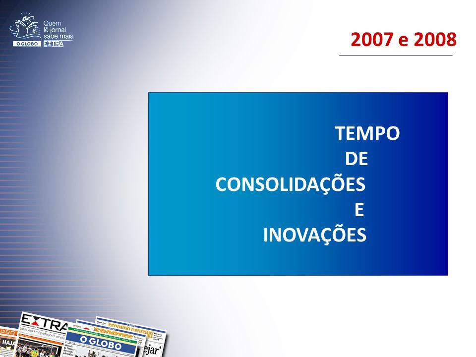 2007 e 2008 TEMPO DE CONSOLIDAÇÕES E INOVAÇÕES