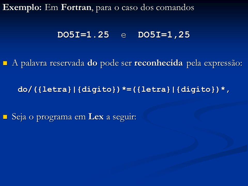 Exemplo: Em Fortran, para o caso dos comandos DO5I=1.25 e DO5I=1,25 A palavra reservada do pode ser reconhecida pela expressão: A palavra reservada do pode ser reconhecida pela expressão:do/({letra}|{digito})*=({letra}|{digito})*, Seja o programa em Lex a seguir: Seja o programa em Lex a seguir: