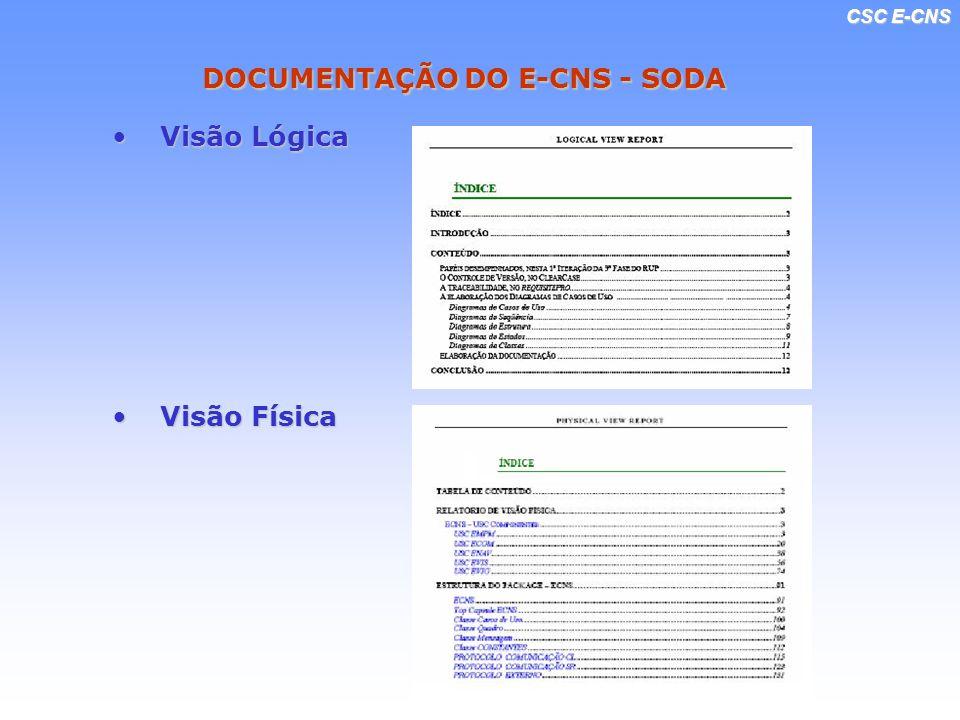 CSC E-CNS DOCUMENTAÇÃO DO E-CNS - SODA Visão LógicaVisão Lógica Visão FísicaVisão Física