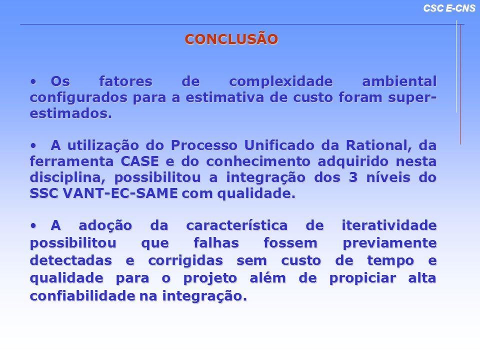 CSC E-CNS CONCLUSÃO Os fatores de complexidade ambiental configurados para a estimativa de custo foram super- estimados. Os fatores de complexidade am