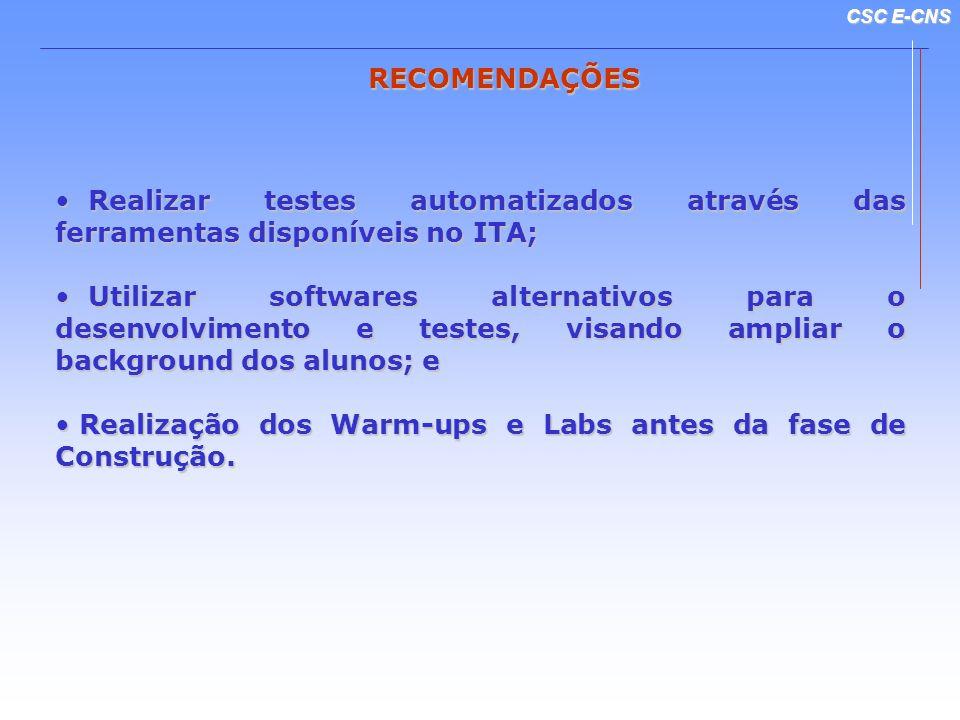 CSC E-CNS RECOMENDAÇÕES Realizar testes automatizados através das ferramentas disponíveis no ITA; Realizar testes automatizados através das ferramenta