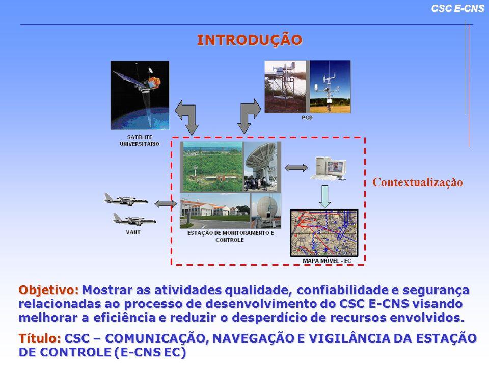 CSC E-CNS INTRODUÇÃO Objetivo: Mostrar as atividades qualidade, confiabilidade e segurança relacionadas ao processo de desenvolvimento do CSC E-CNS vi