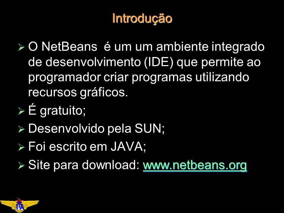 Introdução O NetBeans é um um ambiente integrado de desenvolvimento (IDE) que permite ao programador criar programas utilizando recursos gráficos.