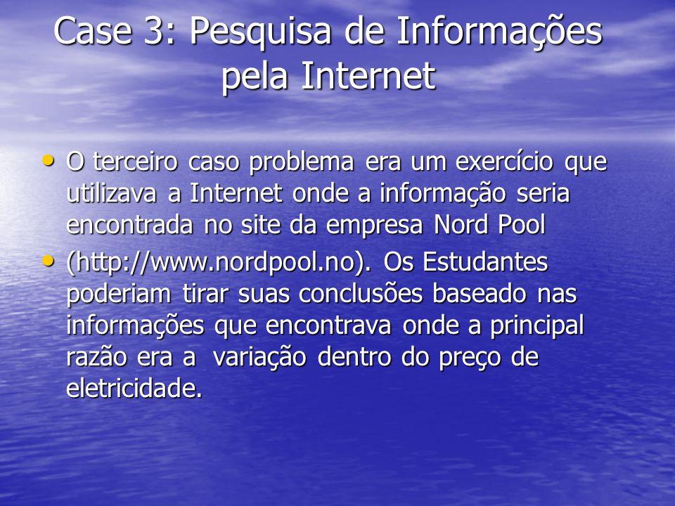 Case 3: Pesquisa de Informações pela Internet O terceiro caso problema era um exercício que utilizava a Internet onde a informação seria encontrada no