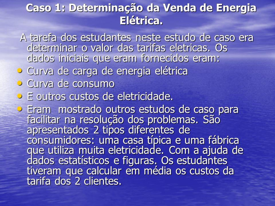 Caso 1: Determinação da Venda de Energia Elétrica. A tarefa dos estudantes neste estudo de caso era determinar o valor das tarifas eletricas. Os dados