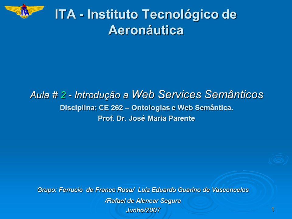 1 ITA - Instituto Tecnológico de Aeronáutica Aula # 2 - Introdução a Web Services Semânticos Disciplina: CE 262 – Ontologias e Web Semântica. Prof. Dr