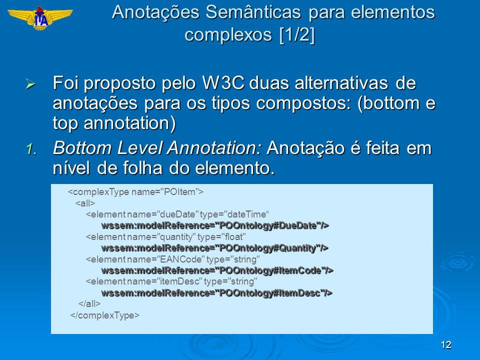 12 Foi proposto pelo W3C duas alternativas de anotações para os tipos compostos: (bottom e top annotation) Foi proposto pelo W3C duas alternativas de