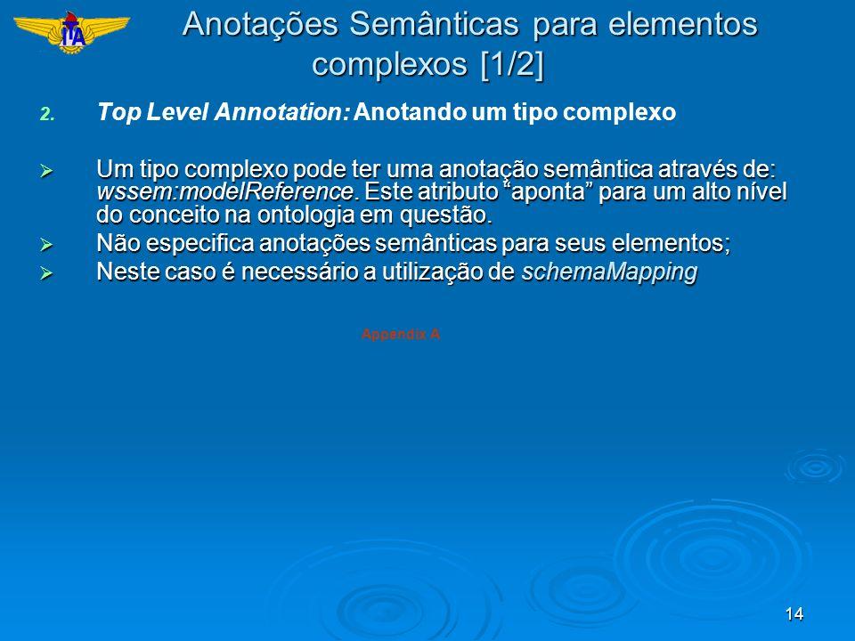 14 2. 2. Top Level Annotation: Anotando um tipo complexo Um tipo complexo pode ter uma anotação semântica através de: wssem:modelReference. Este atrib