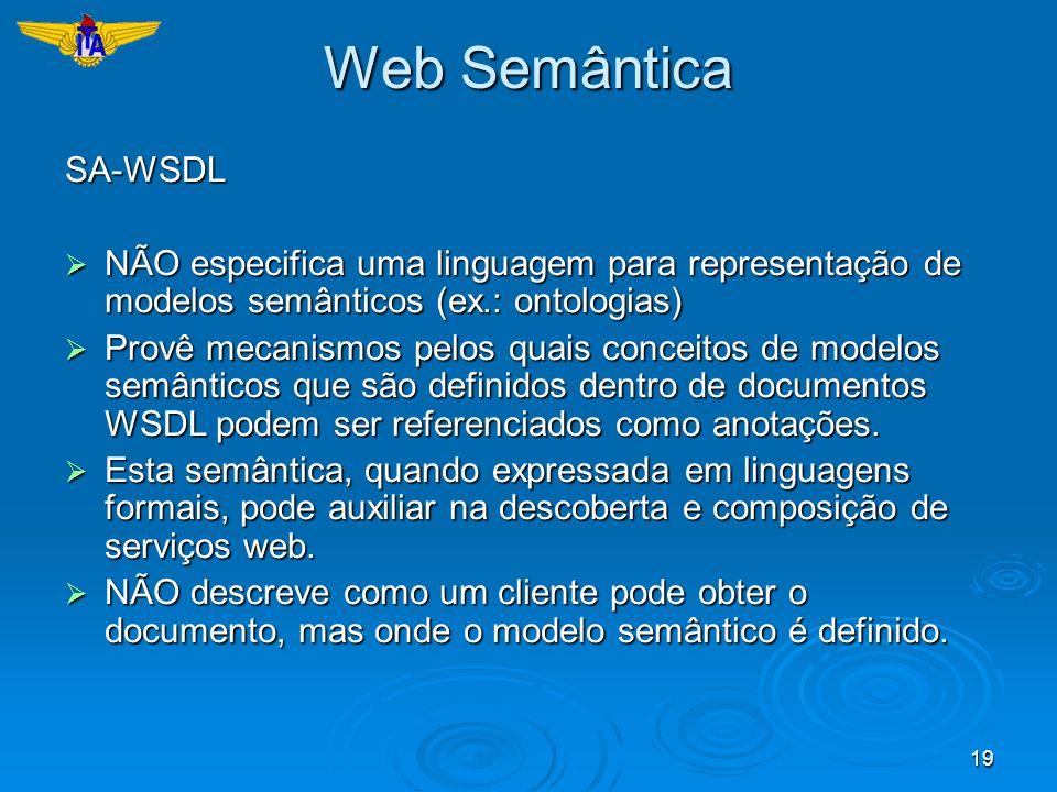 19 Web Semântica SA-WSDL NÃO especifica uma linguagem para representação de modelos semânticos (ex.: ontologias) NÃO especifica uma linguagem para rep