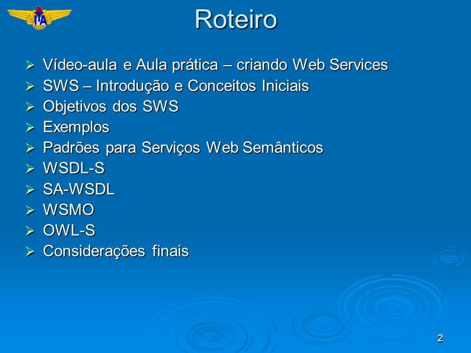 2Roteiro Vídeo-aula e Aula prática – criando Web Services Vídeo-aula e Aula prática – criando Web Services SWS – Introdução e Conceitos Iniciais SWS –