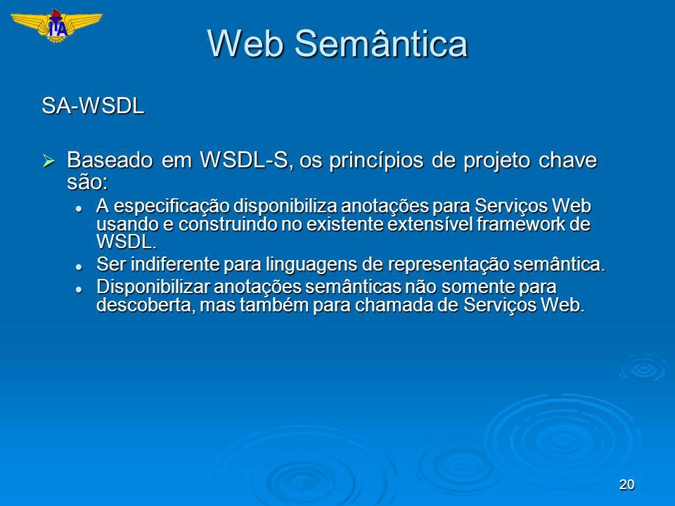 20 Web Semântica SA-WSDL Baseado em WSDL-S, os princípios de projeto chave são: Baseado em WSDL-S, os princípios de projeto chave são: A especificação