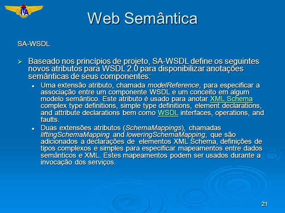 21 Web Semântica SA-WSDL Baseado nos princípios de projeto, SA-WSDL define os seguintes novos atributos para WSDL 2.0 para disponibilizar anotações se
