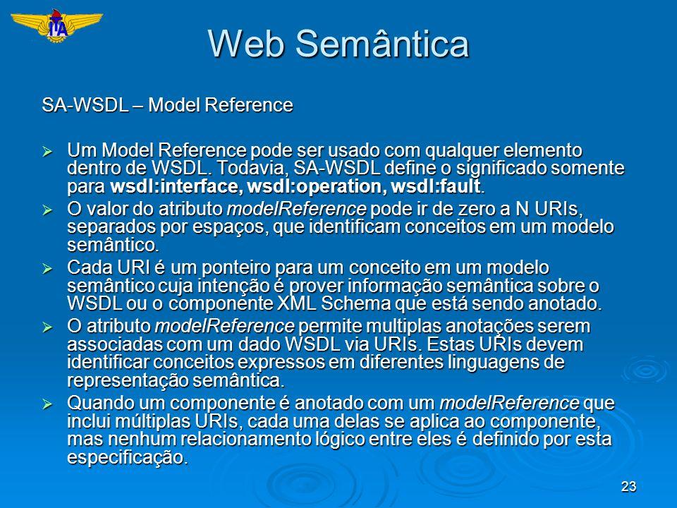 23 Web Semântica SA-WSDL – Model Reference Um Model Reference pode ser usado com qualquer elemento dentro de WSDL. Todavia, SA-WSDL define o significa