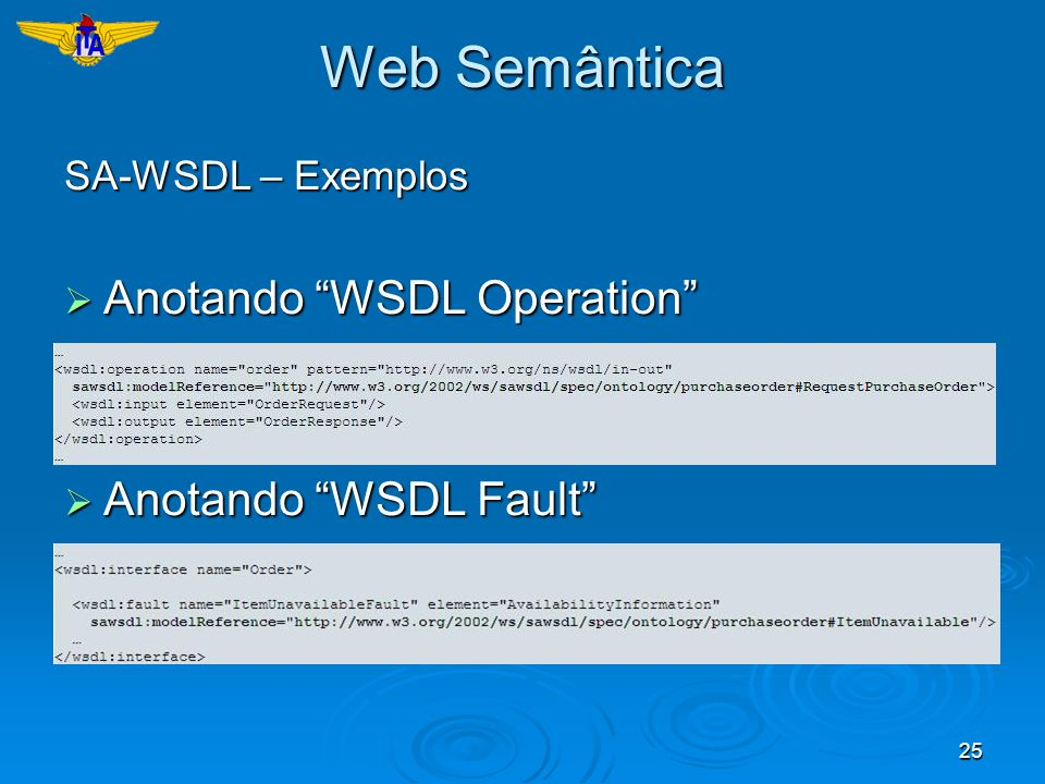 25 Web Semântica SA-WSDL – Exemplos Anotando WSDL Operation Anotando WSDL Operation Anotando WSDL Fault Anotando WSDL Fault