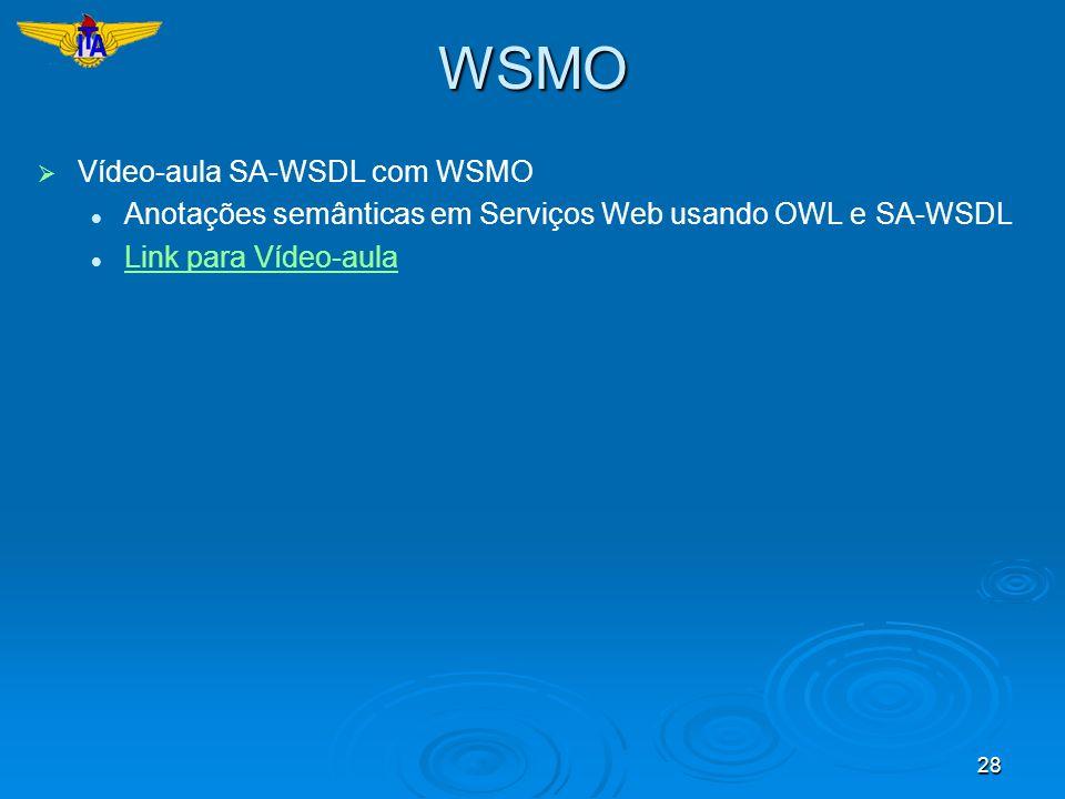 28WSMO Vídeo-aula SA-WSDL com WSMO Anotações semânticas em Serviços Web usando OWL e SA-WSDL Link para Vídeo-aula