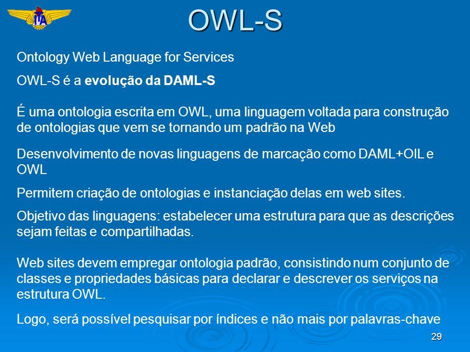 29 Ontology Web Language for Services OWL-S é a evolução da DAML-S É uma ontologia escrita em OWL, uma linguagem voltada para construção de ontologias