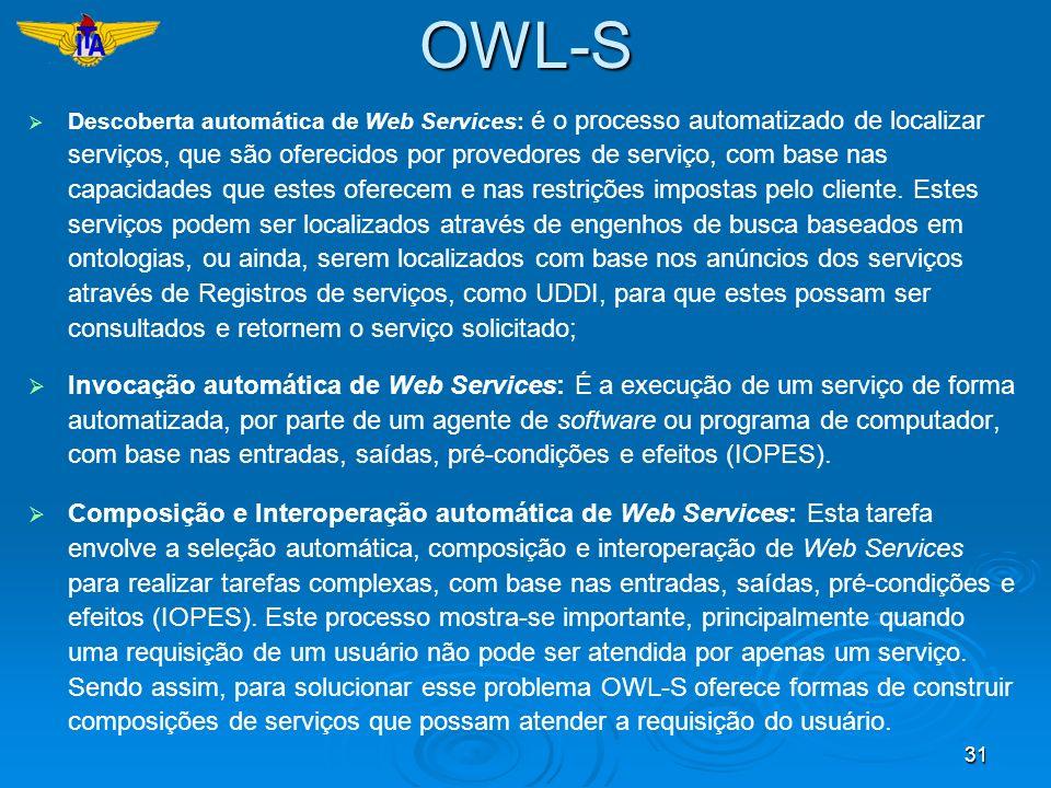 31 Descoberta automática de Web Services: é o processo automatizado de localizar serviços, que são oferecidos por provedores de serviço, com base nas