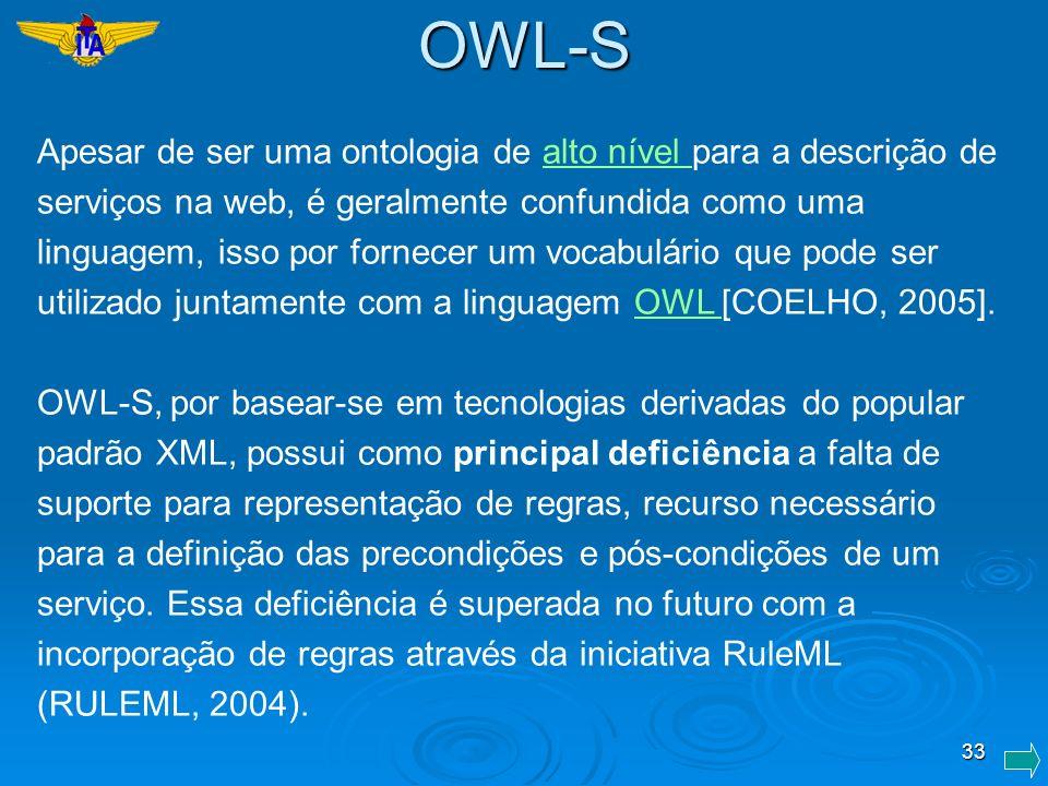 33 Apesar de ser uma ontologia de alto nível para a descrição de serviços na web, é geralmente confundida como uma linguagem, isso por fornecer um voc