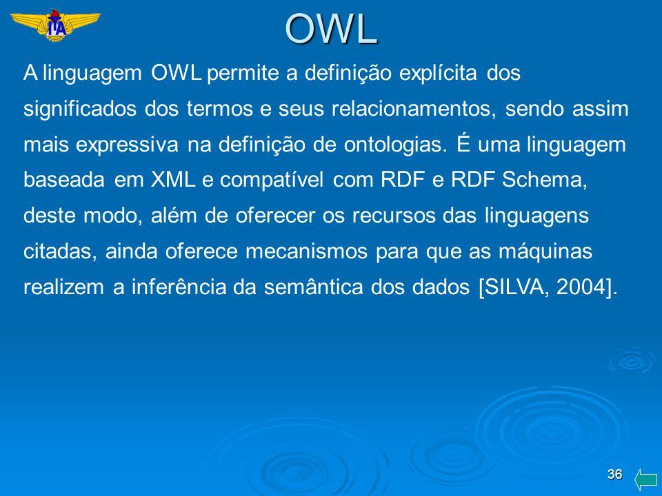 36 A linguagem OWL permite a definição explícita dos significados dos termos e seus relacionamentos, sendo assim mais expressiva na definição de ontol
