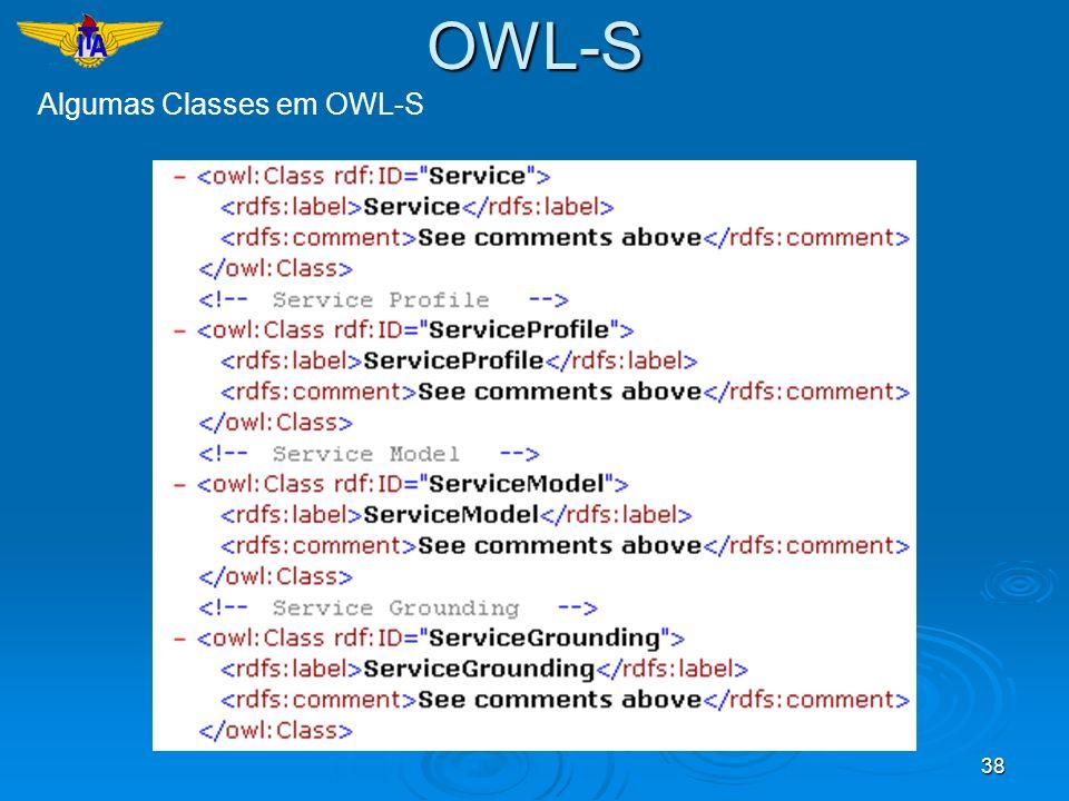 38 Algumas Classes em OWL-S OWL-S