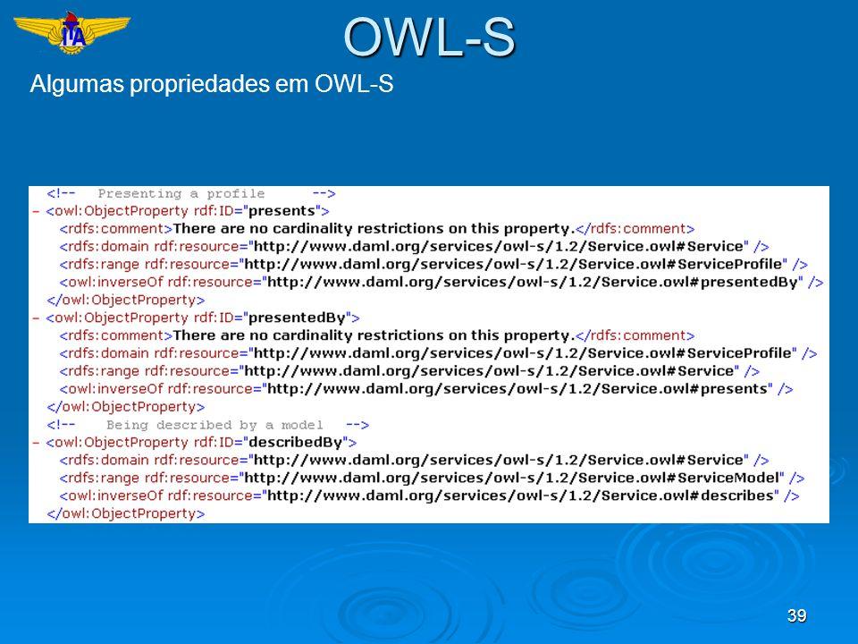 39 Algumas propriedades em OWL-S OWL-S