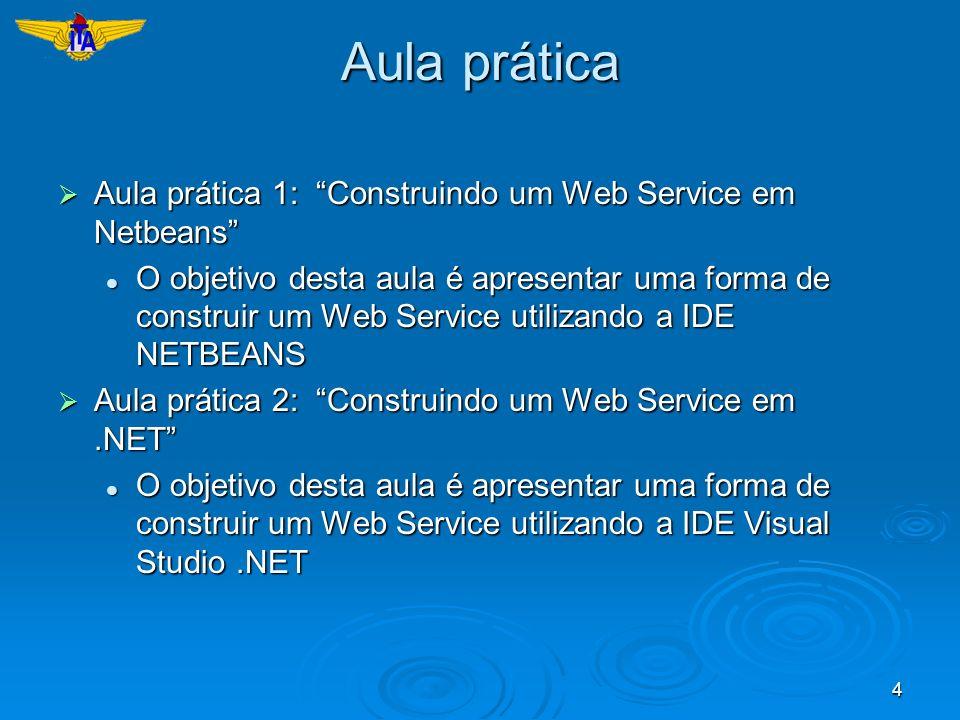 4 Aula prática Aula prática 1: Construindo um Web Service em Netbeans Aula prática 1: Construindo um Web Service em Netbeans O objetivo desta aula é a