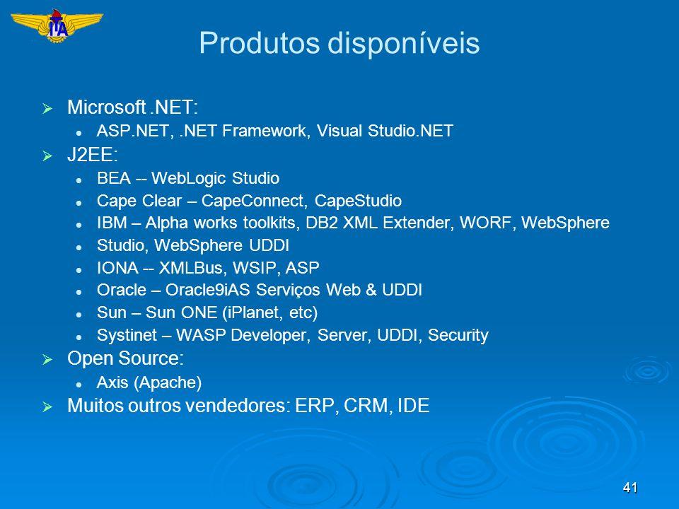 41 Produtos disponíveis Microsoft.NET: ASP.NET,.NET Framework, Visual Studio.NET J2EE: BEA -- WebLogic Studio Cape Clear – CapeConnect, CapeStudio IBM