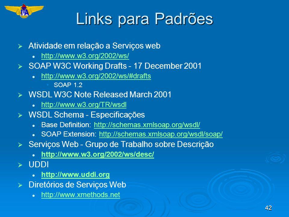 42 Links para Padrões Atividade em relação a Serviços web http://www.w3.org/2002/ws/ SOAP W3C Working Drafts - 17 December 2001 http://www.w3.org/2002