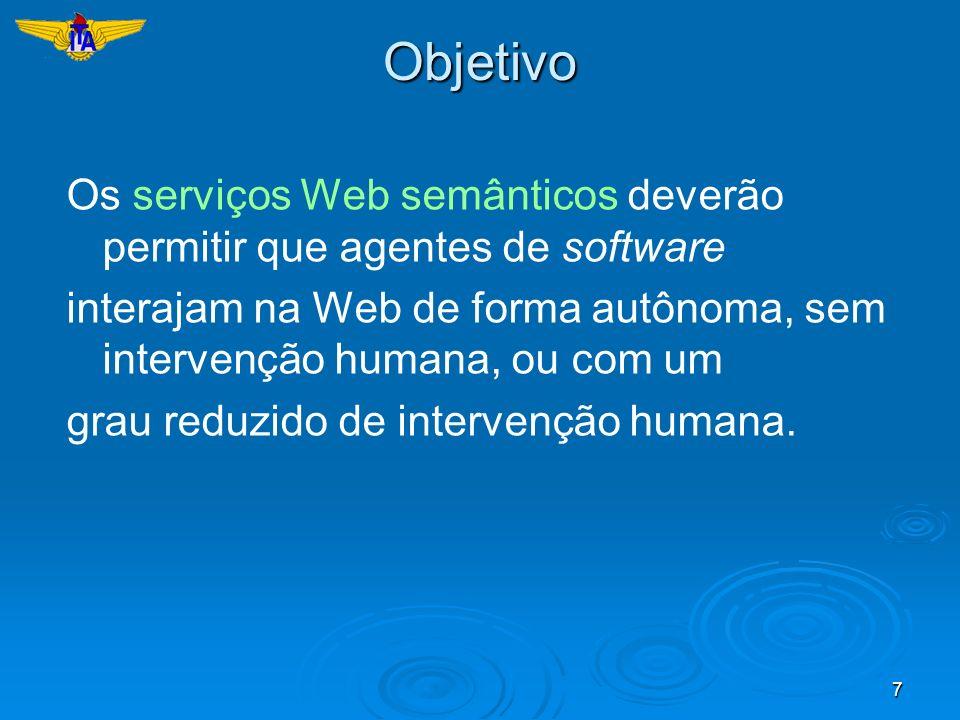 7Objetivo Os serviços Web semânticos deverão permitir que agentes de software interajam na Web de forma autônoma, sem intervenção humana, ou com um gr