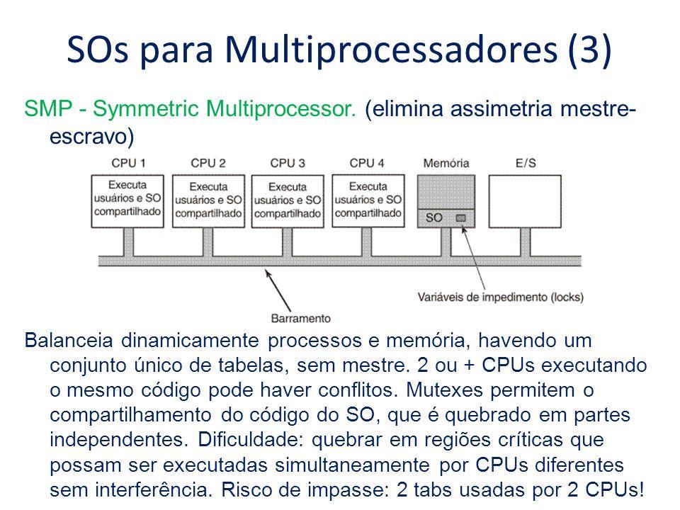 SOs para Multiprocessadores (3) SMP - Symmetric Multiprocessor. (elimina assimetria mestre- escravo) Balanceia dinamicamente processos e memória, have