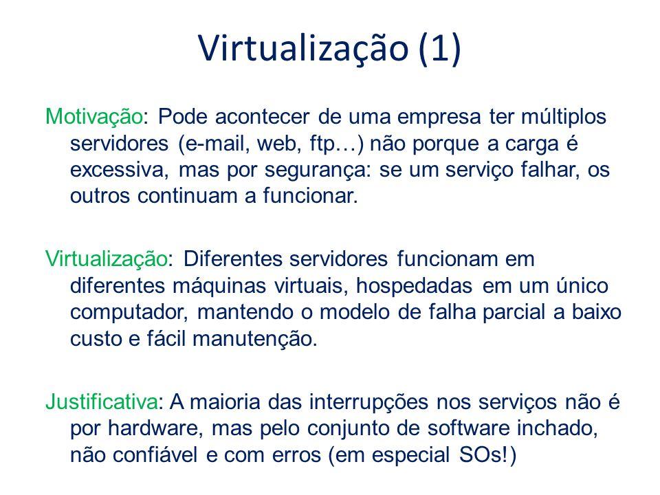 Virtualização (1) Motivação: Pode acontecer de uma empresa ter múltiplos servidores (e-mail, web, ftp…) não porque a carga é excessiva, mas por segura