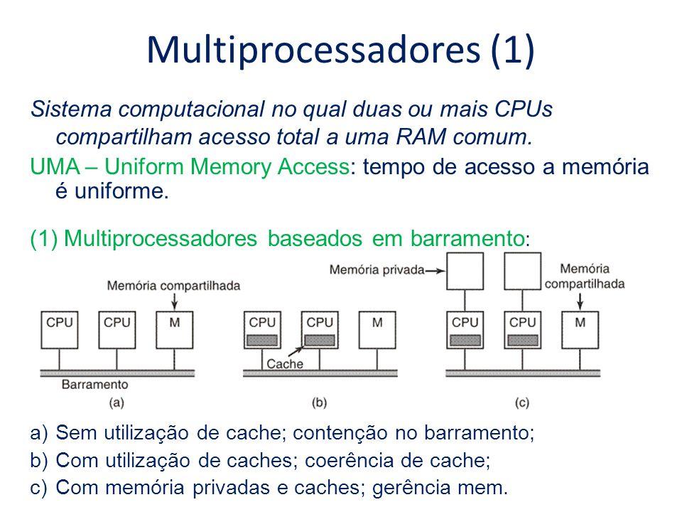 Multiprocessadores (1) Sistema computacional no qual duas ou mais CPUs compartilham acesso total a uma RAM comum. UMA – Uniform Memory Access: tempo d