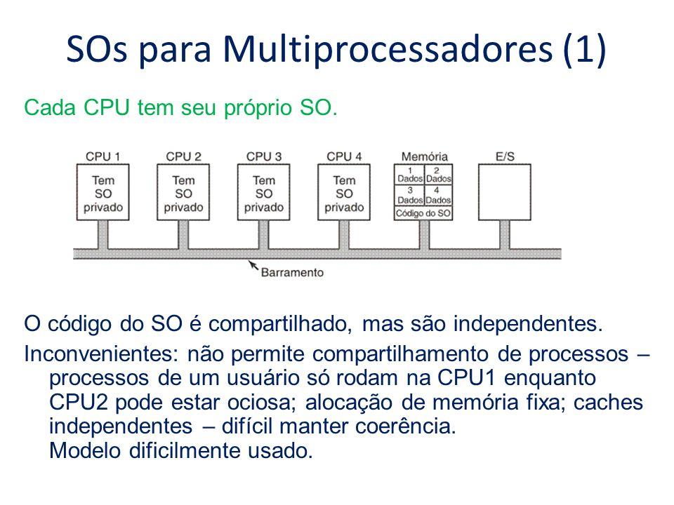 SOs para Multiprocessadores (1) Cada CPU tem seu próprio SO. O código do SO é compartilhado, mas são independentes. Inconvenientes: não permite compar