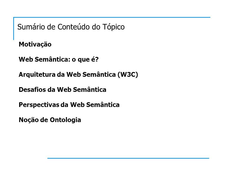 Sumário de Conteúdo do Tópico Motivação Web Semântica: o que é.